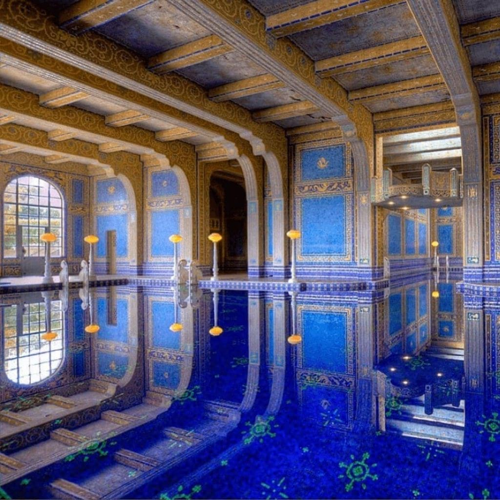 Hearst Castle's blue and gold indoor Roman Bath-style pool.
