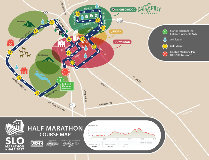 SLO Half Marathon Course Map from 2017