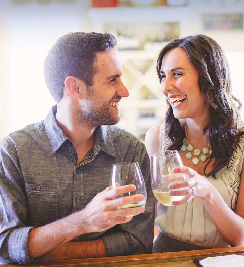 Couple enjoying wine together