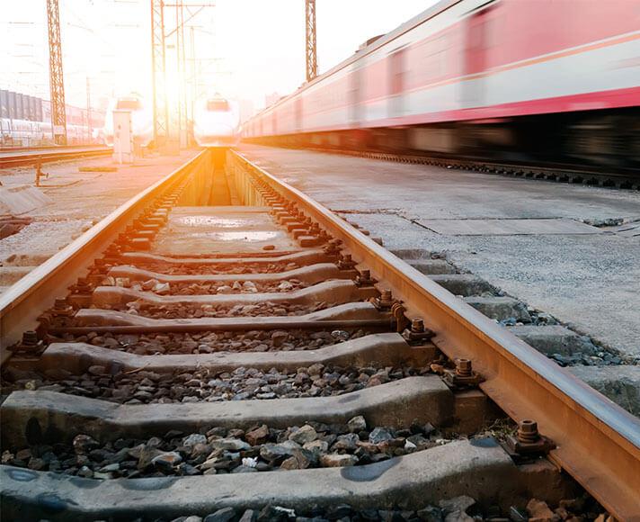 Trains pass through the San Luis Obispo Railroad