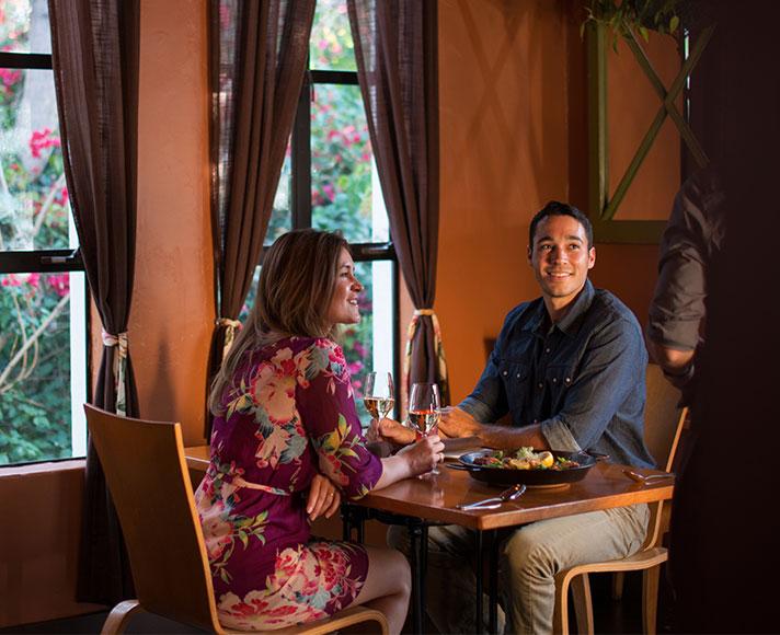 A couple enjoying dinner in San Luis Obispo