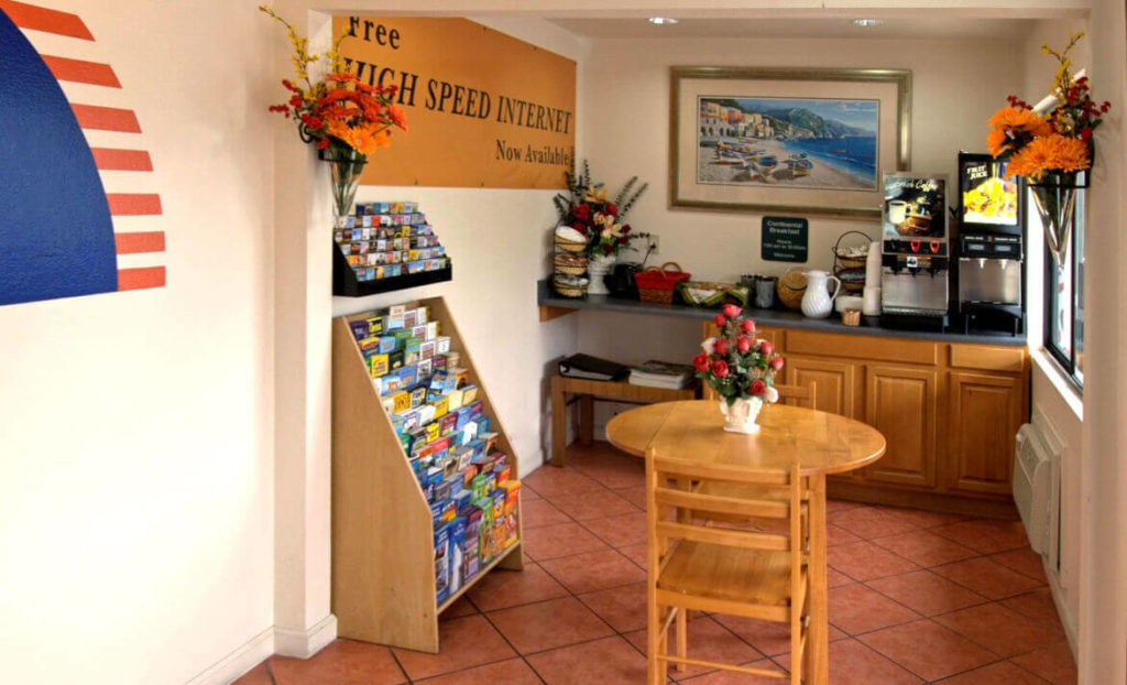 Check-in area of America's Best Value Inn San Luis Obispo