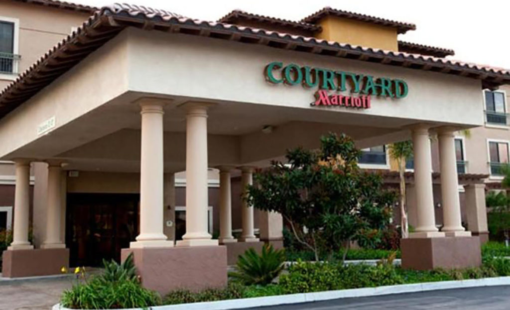 Entrance and sign for the Courtyard Marriott