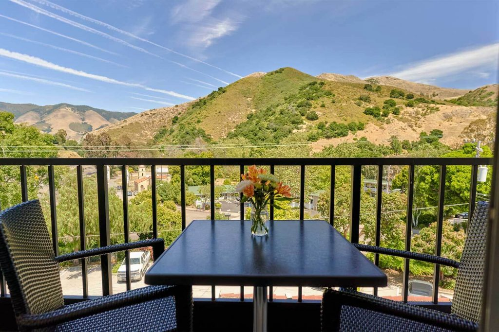 La Cuesta Inn balcony view of the San Luis Obispo hills