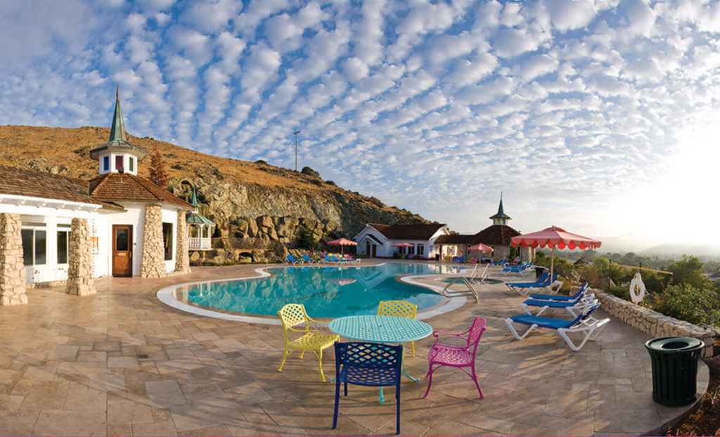 Pool and pool deck at Madonna Inn