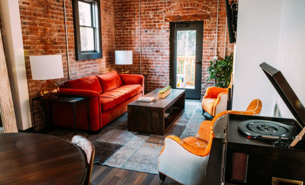 Living room of SLO Brew Lofts