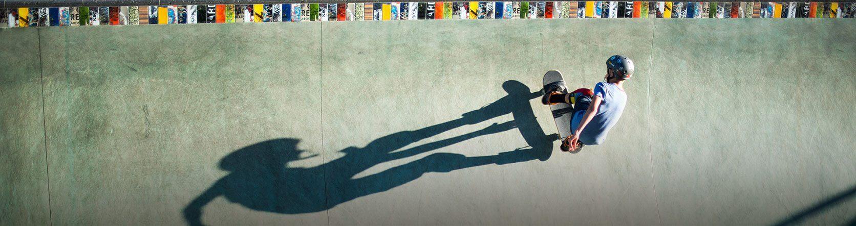 Boy skateboards at the San Luis Obispo Skate Park