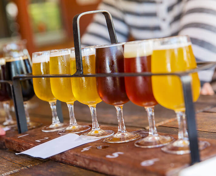 A beer tasting flight
