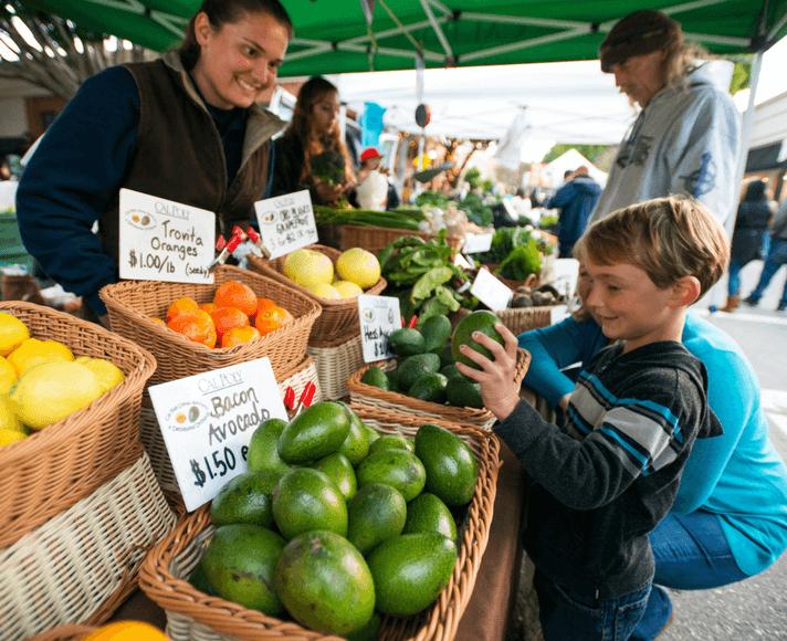 A boy exploring fresh fruit at the Downtown SLO Farmer's Market