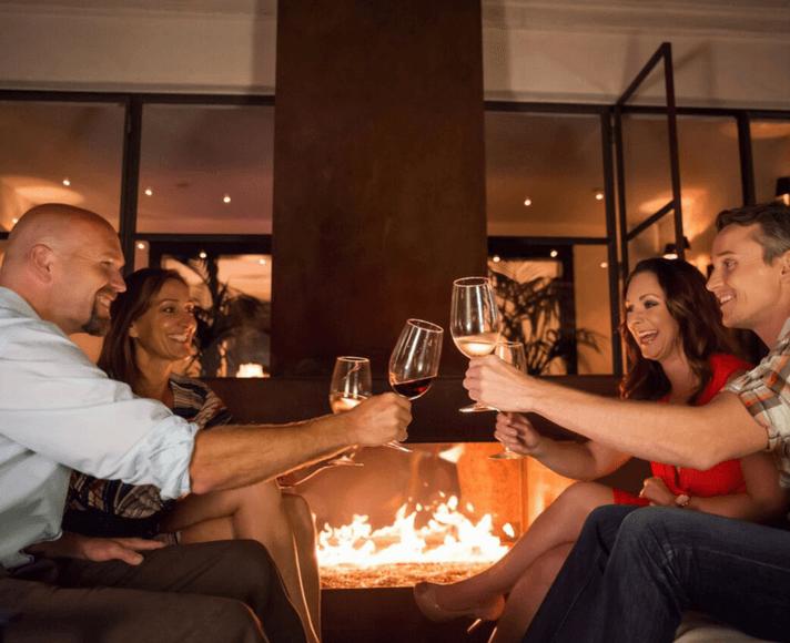 A group enjoying wine at Granada Hotel & Bistro in San Luis Obispo, CA