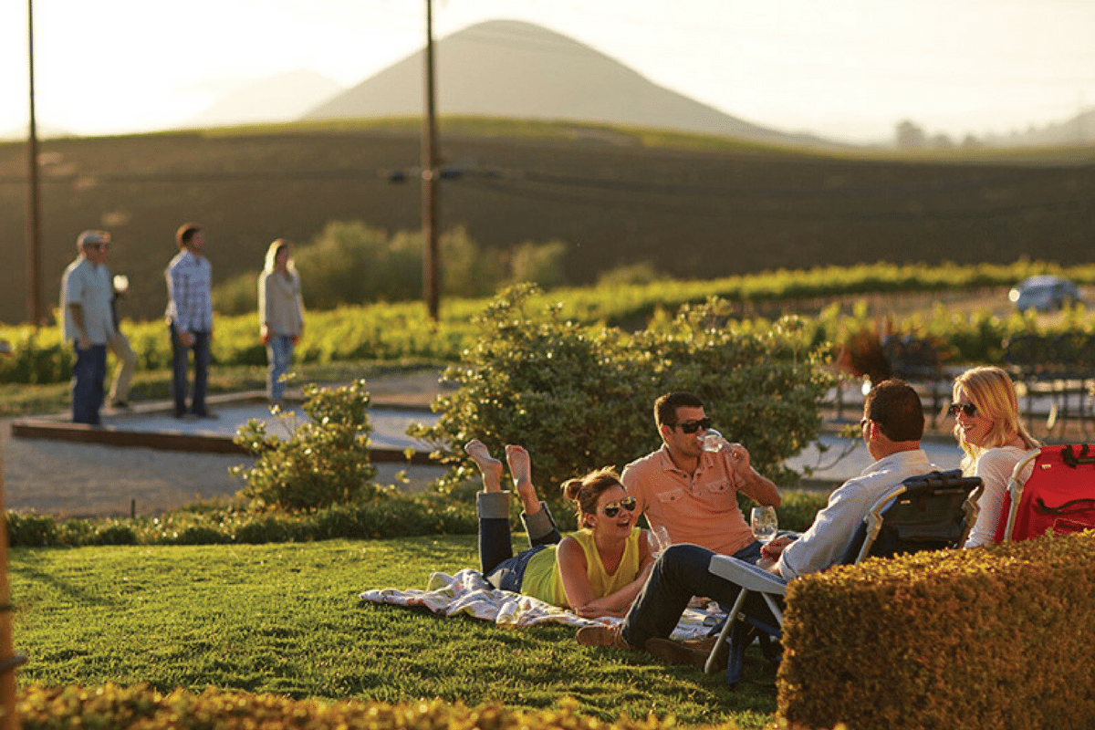 A group wine tasting on a picnic blanket in San Luis Obispo