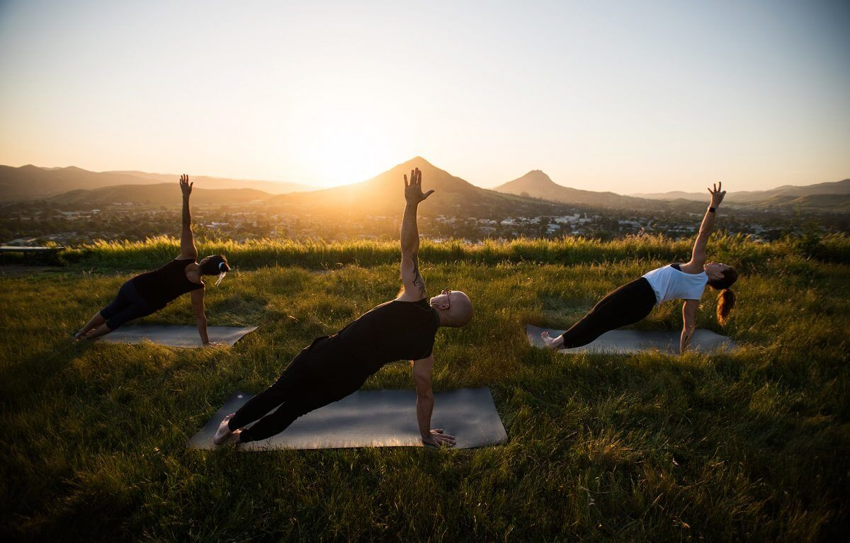 A yoga session on Terrace Hill in San Luis Obispo