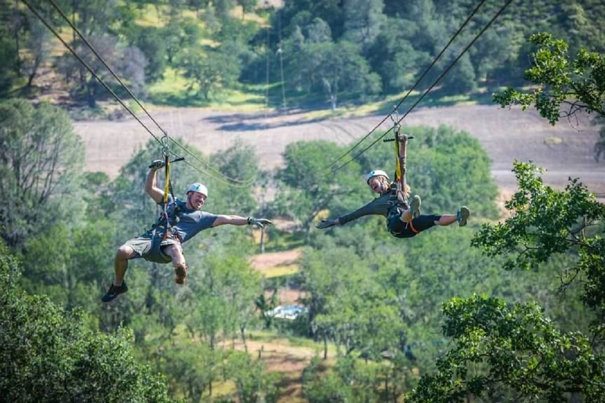Zip lining near San Luis Obispo, over Santa Margarita Ranch