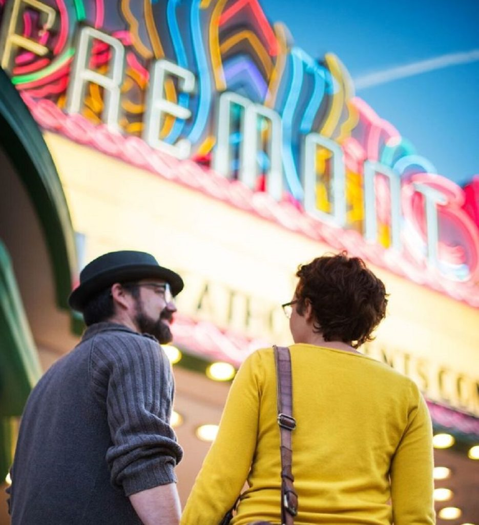 Couple in front of theater
