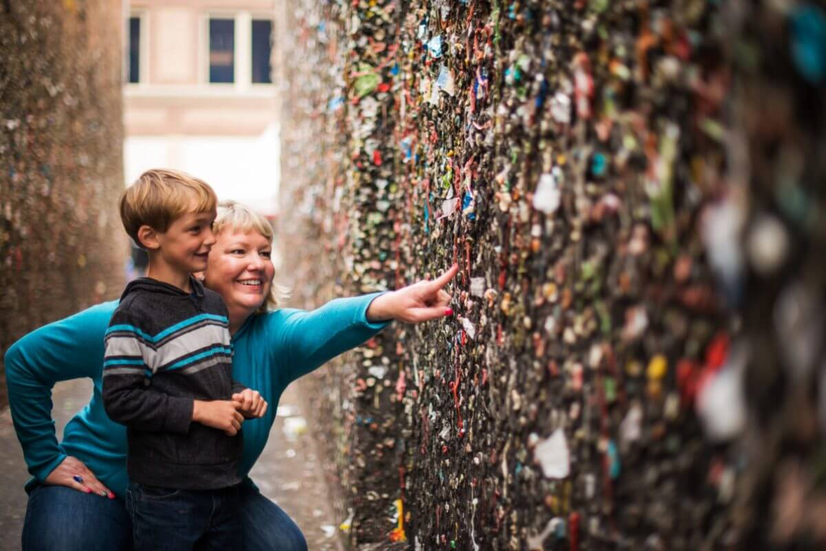 Mom and young boy in SLO Bubblegum Alley