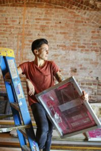 Renee taught herself to screen print and launched her own company, Androgynous Fox.