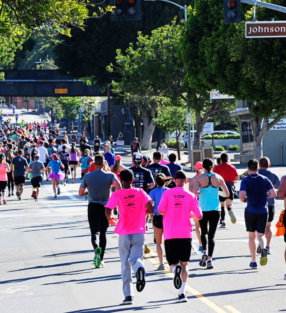 People running race downtown SLO