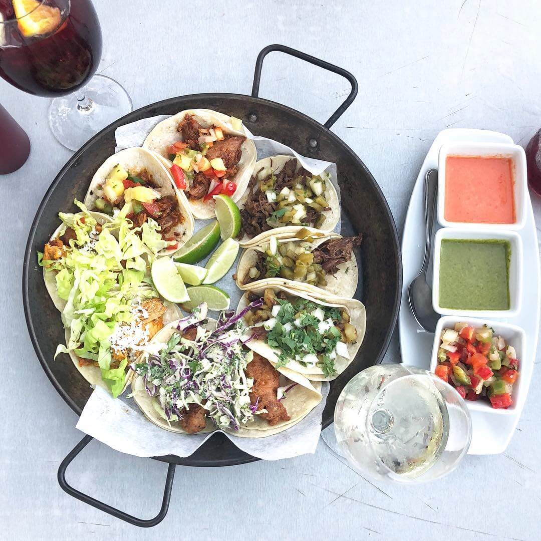 Luna Red Gluten Free tacos with salsa and drinks