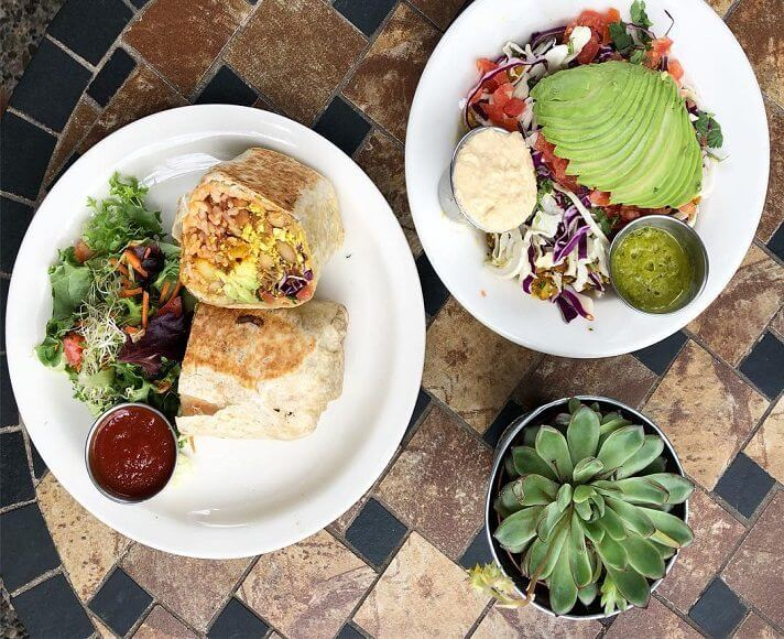 Healthy Bliss Cafe burrito and salad