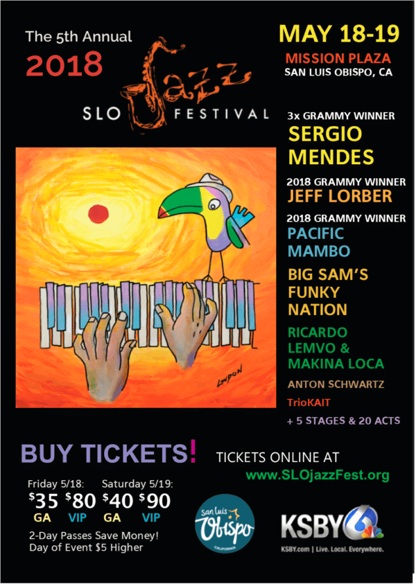 SLO Jazz Fest May 18-19 Lineup Poster