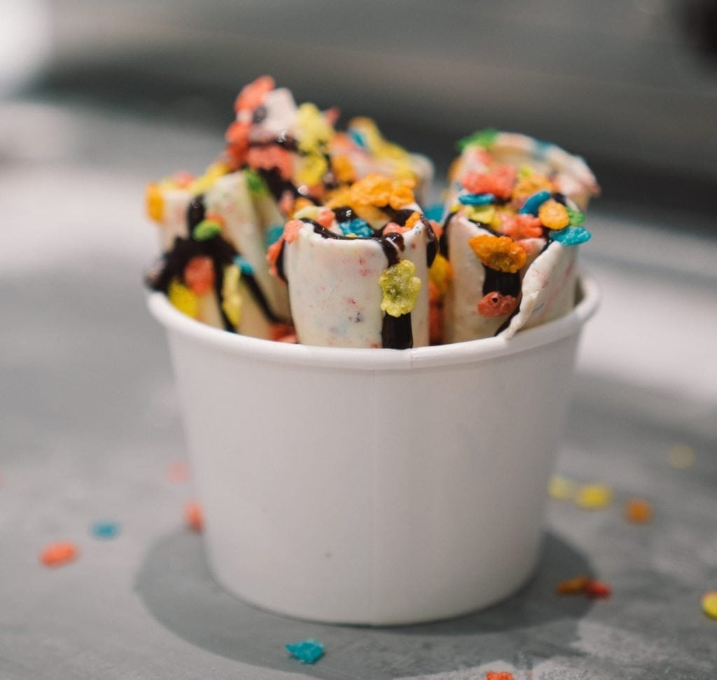 Rolld SLO Ice Cream Cup with Fruity Pebbles and Chocolate Syrup