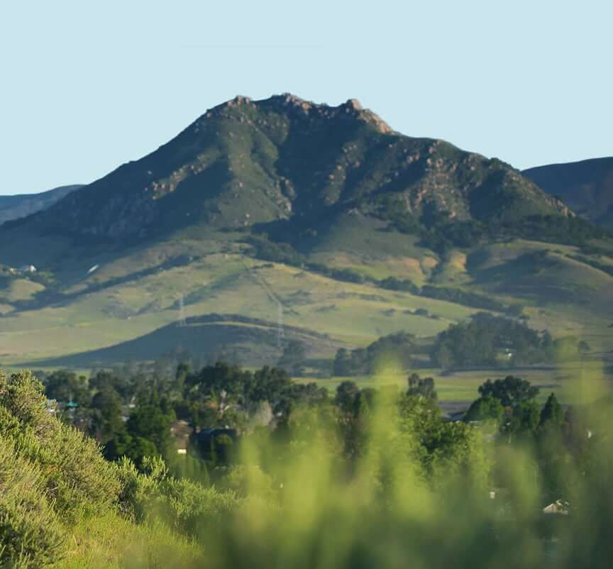 Distant green mountains in San Luis Obispo, California