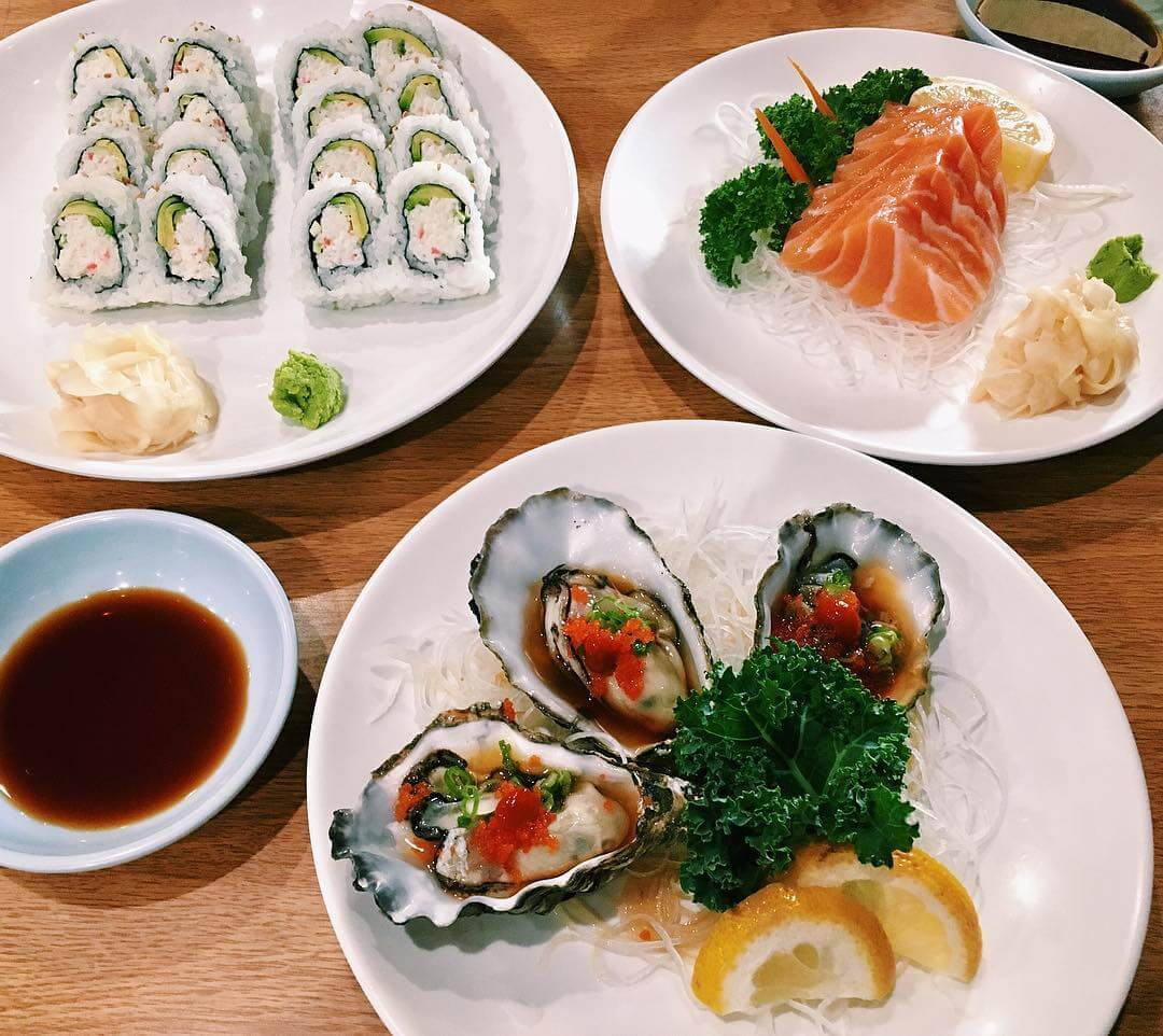 Oysters, Sushi rolls, and fresh fish from HaHa Sushi in San Luis Obispo