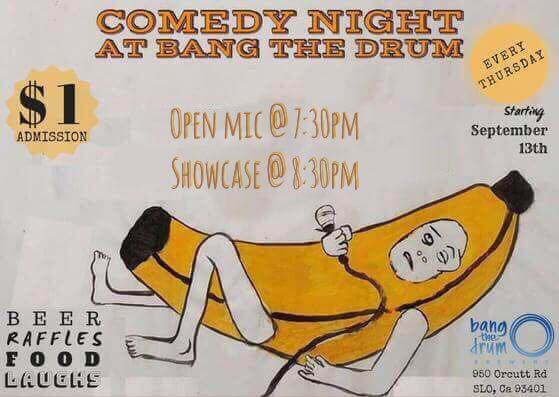 Comedy Night San Luis Obispo at Bang The Drum - Event Flyer