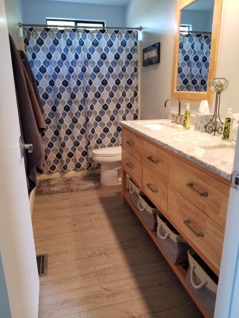 Bluerock Retreat Homestay Bathroom counter and shower in San Luis Obispo