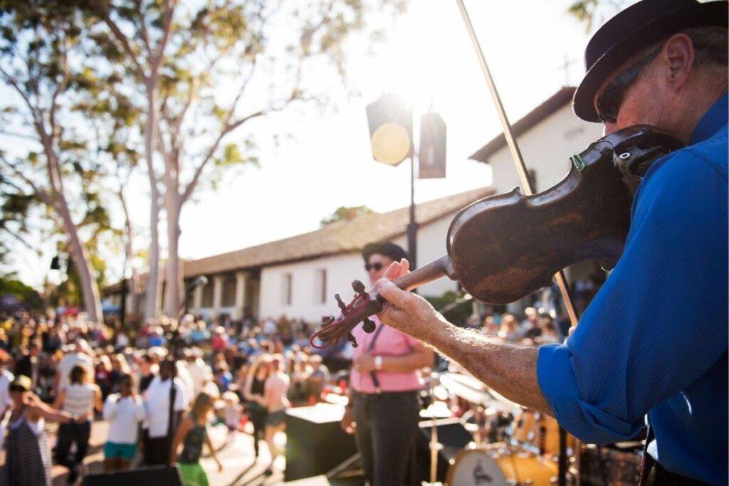 Concerts in the Plaza performance in San Luis Obispo Mission Plaza.