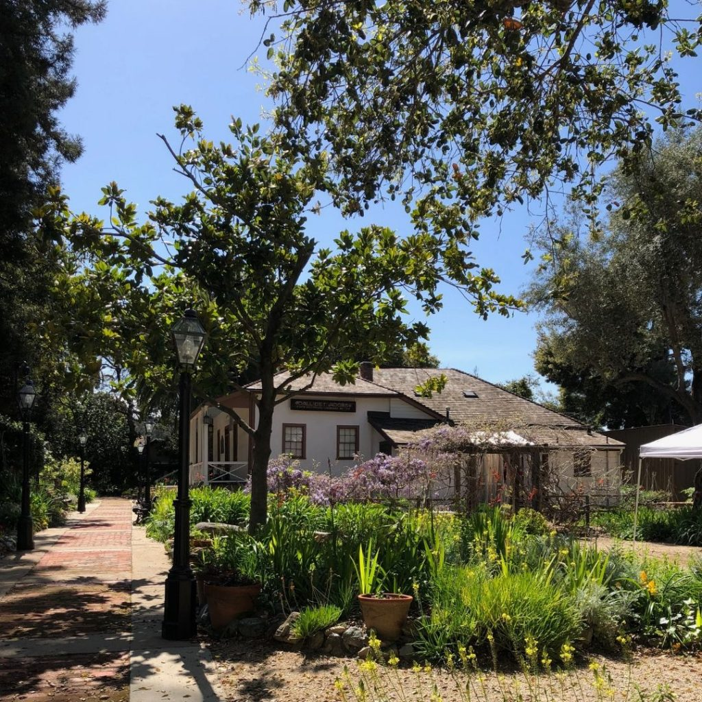 The front of the historic Dallidet Adobe and Gardens of San Luis Obispo