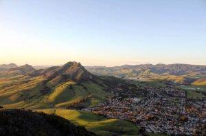 Landscape view of San Luis Obispo town and mountains