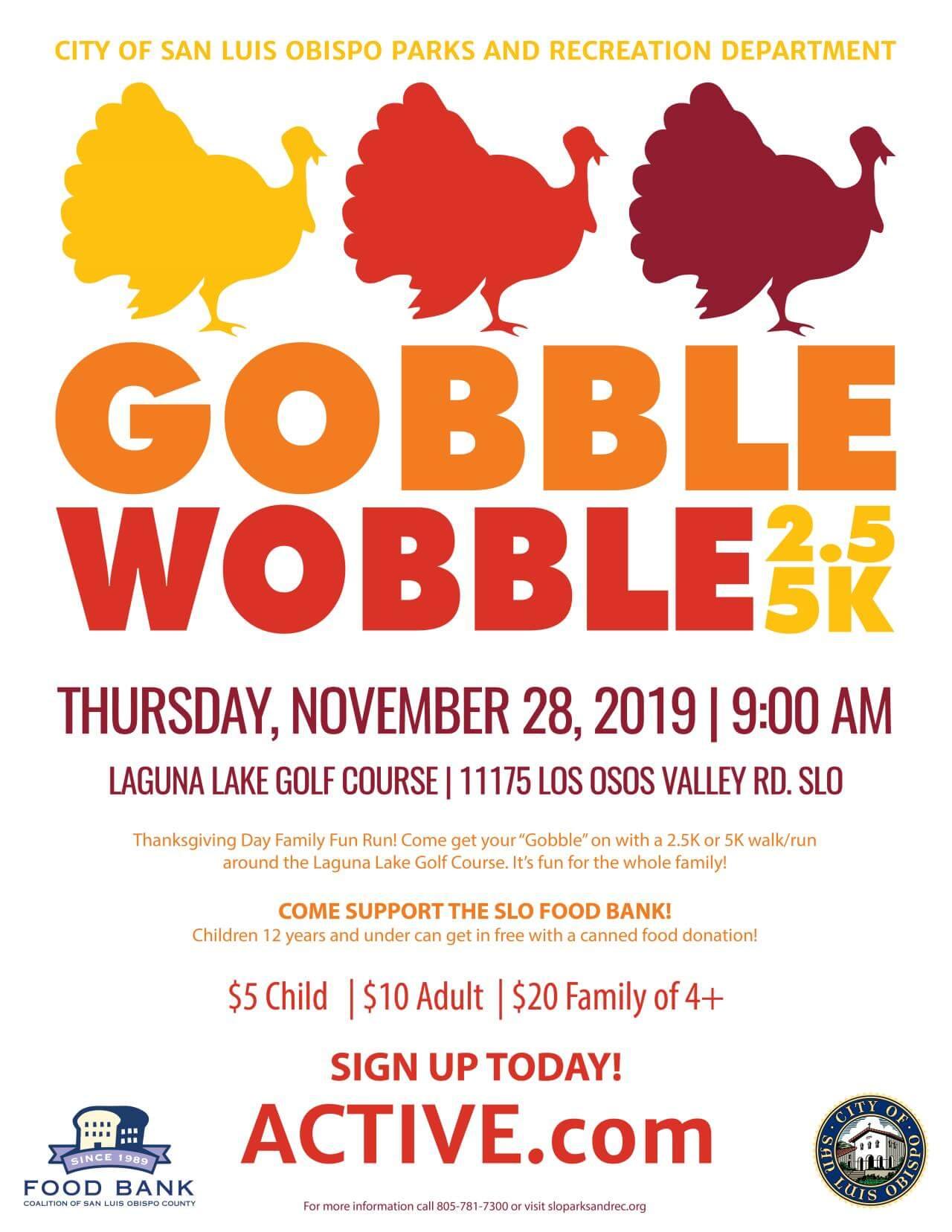 Gobble Wobble, 2019 2.5K and 5K fundraiser event flyer.