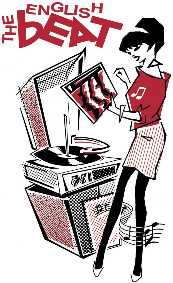 The English Beat cartoon of a woman at a record player.