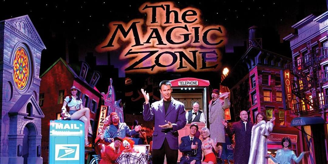 The Magic Zone magic performance poster, with Lance Burton in front of assorted props.