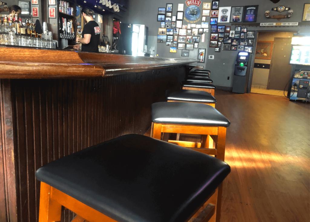 Barstools and bar at Bulls Tavern in San Luis Obispo